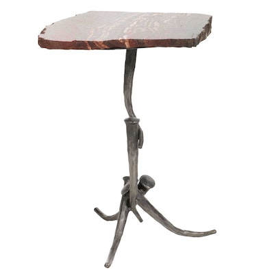 Gibson's of the Greenbrier Petrified Wood Accent Table on Forged Metal Base