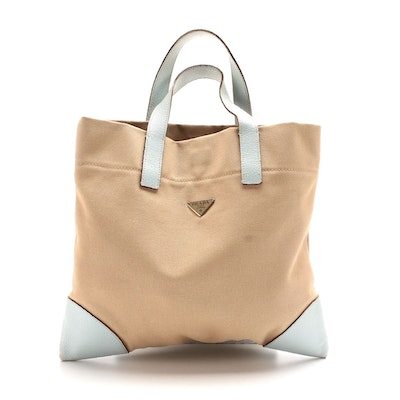 Prada Tote in Khaki Canvas with Pale Blue Leather Trims
