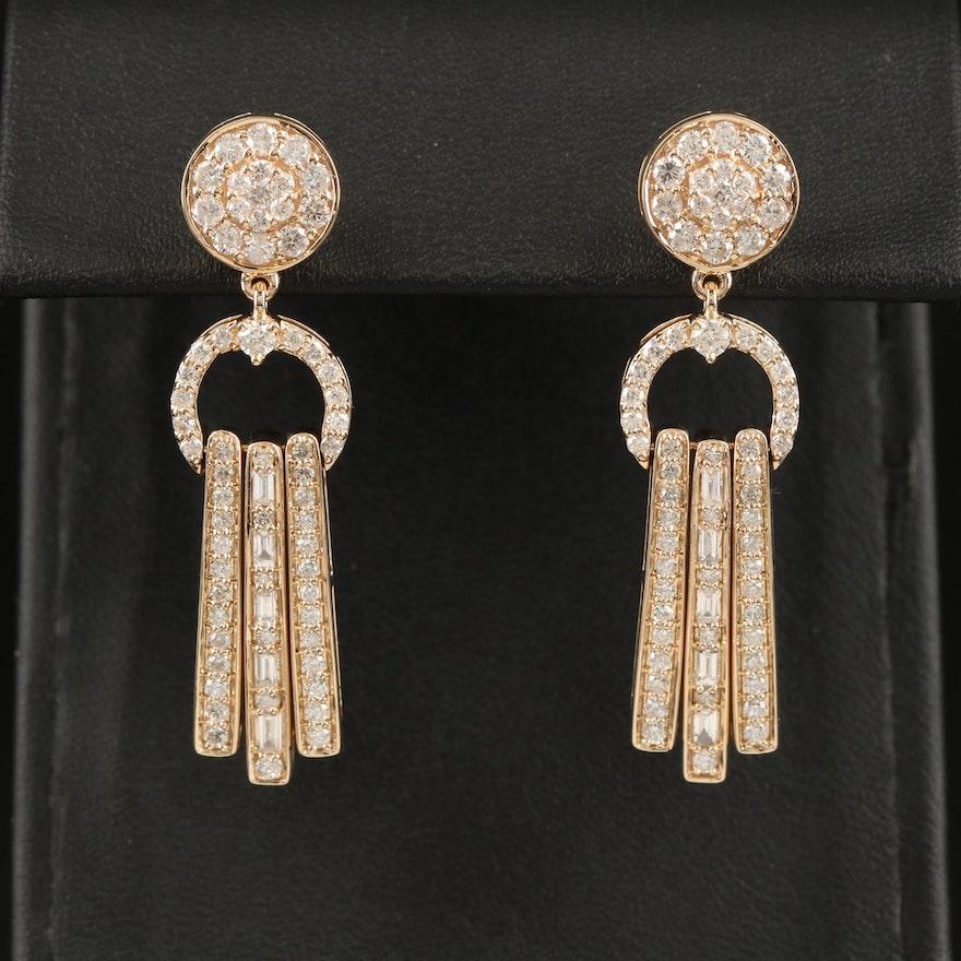 14K 2.17 CTW Diamond Fringe Drop Earrings