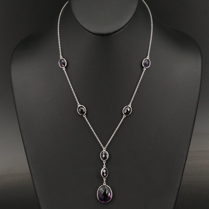 Sterling Amethyst and Smoky Quartz Lavalier Necklace