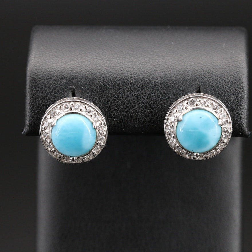 Sterling Larimar and Cubic Zirconia Halo Earrings
