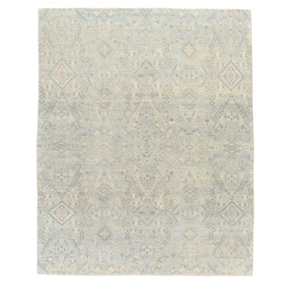 8'1 x 10'1 Hand-Knotted Indian Contemporary Floral Area Rug from The Rug Gallery