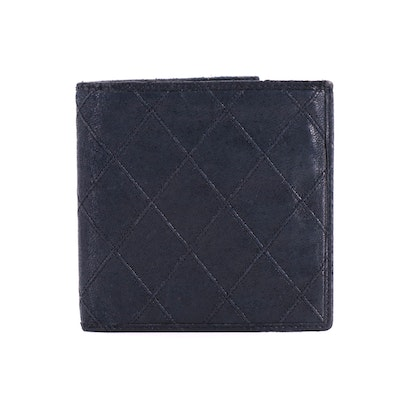 Chanel Diamond Quilted Bifold Wallet in Black Calfskin Leather