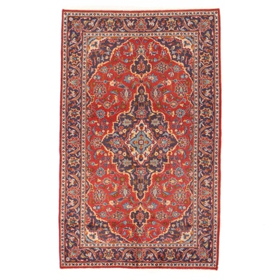 4'2 x 6'10 Hand-Knotted Persian Kashan Area Rug