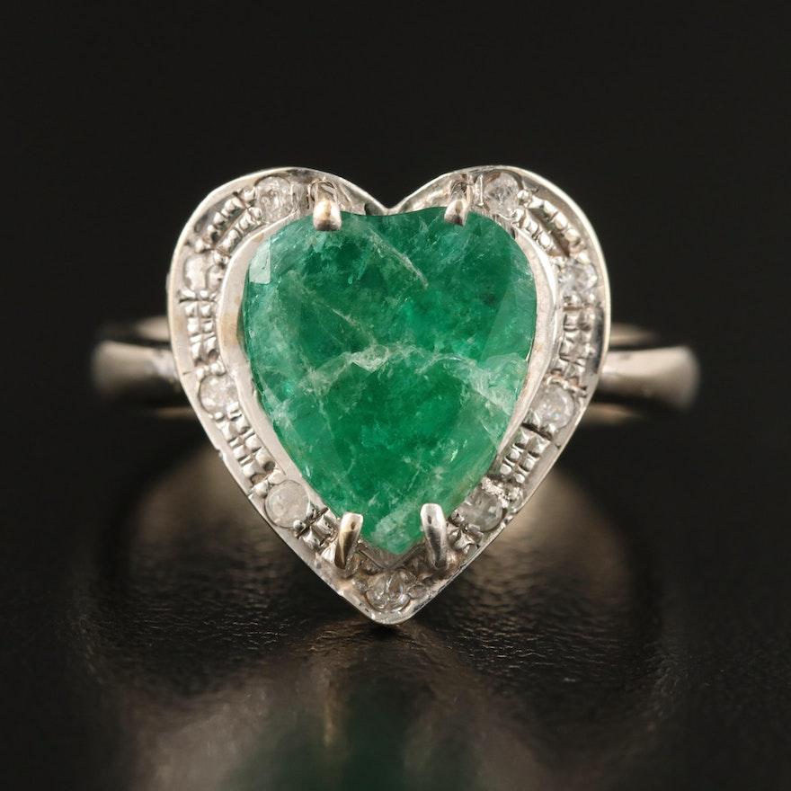 14K Beryl and Diamond Heart Ring