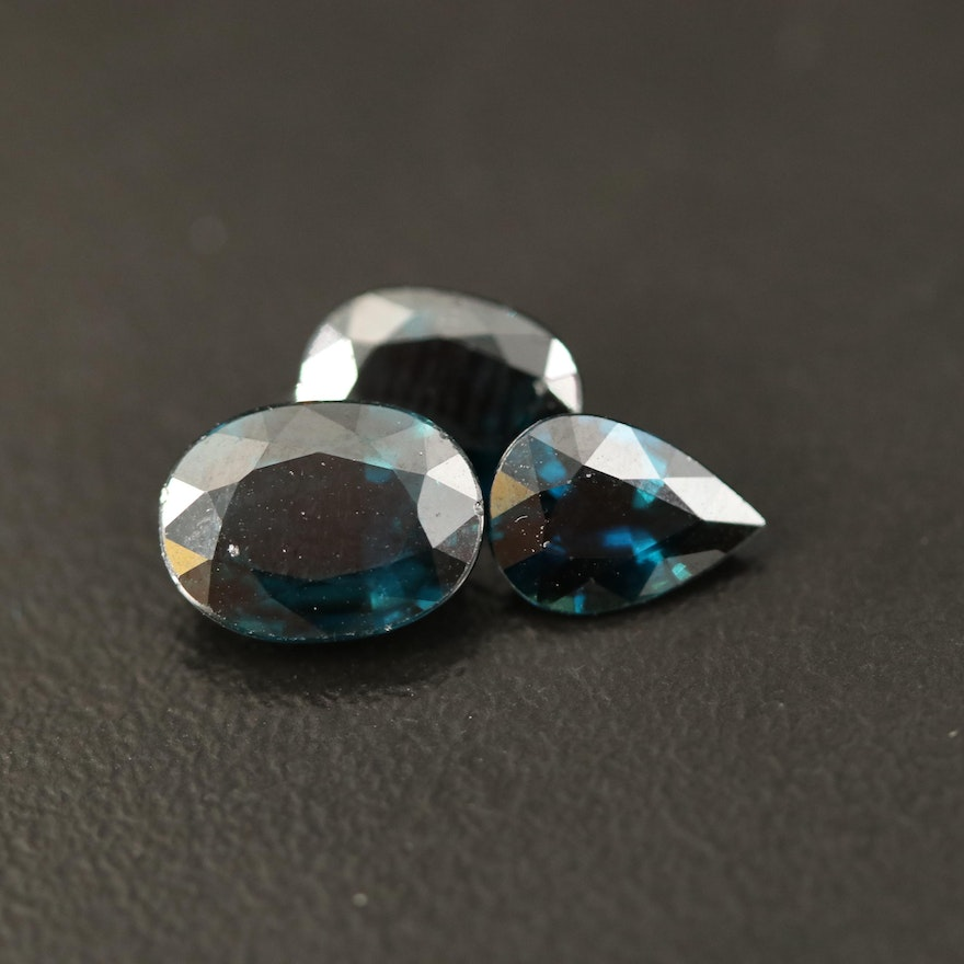 Loose 3.27 CTW Oval and Pear Faceted Sapphires