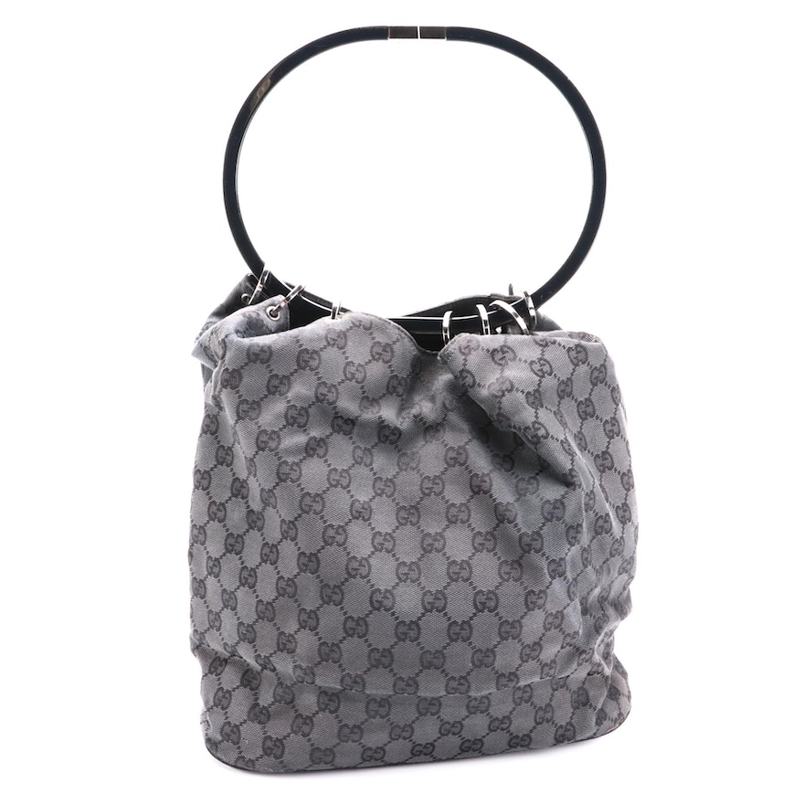 Gucci Black GG Canvas and Leather Shoulder Bag with Ring Handle