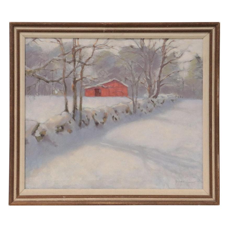 """Gigi Horr Liverant Oil Painting """"Milnes Barn in Winter"""""""