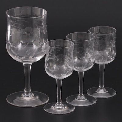 Floral Etched Wine Glass with Cordial Glasses