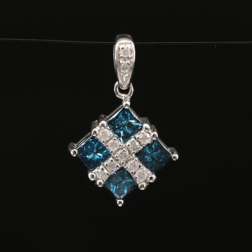 Sterling Silver Diamond Square Pendant