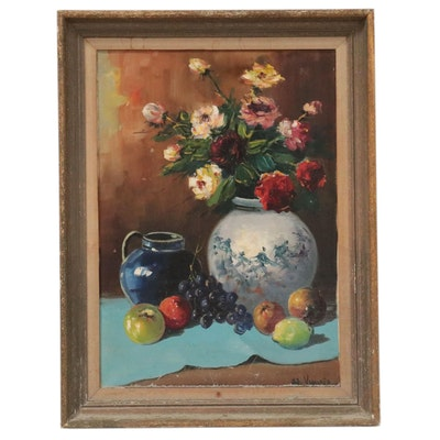 Still Life Oil Painting with Flowers and Fruit