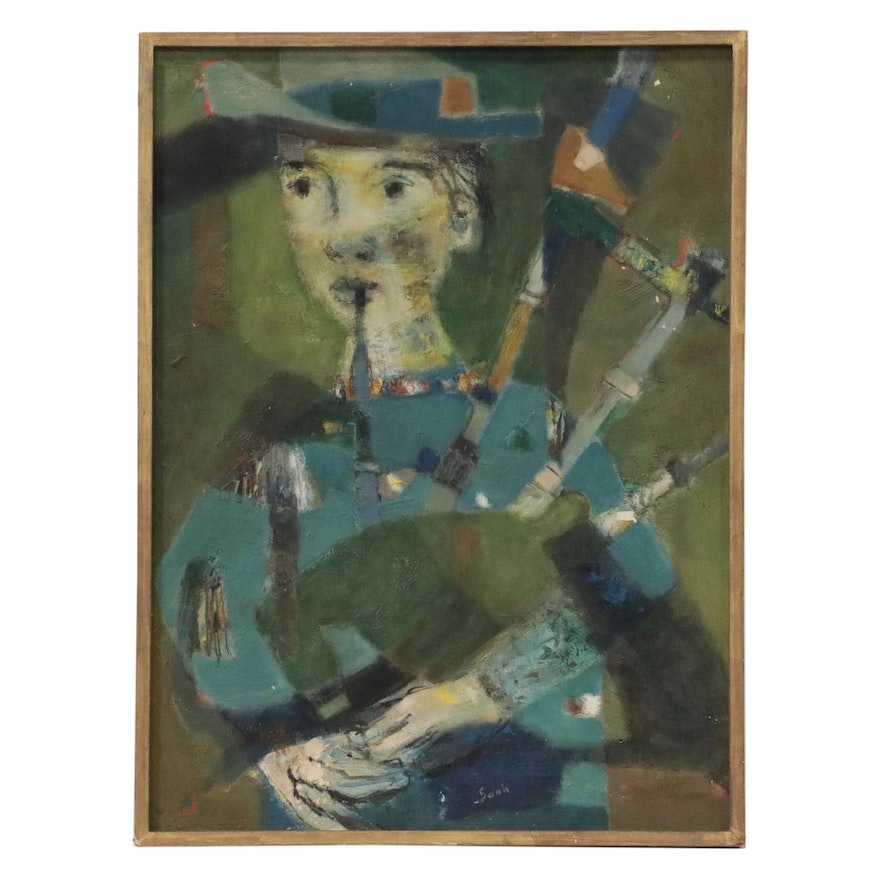 Abstracted Oil Painting of a Bagpipe Player