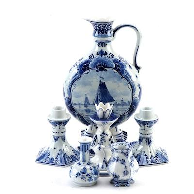 """Royal Copenhagen """"Fluted Blue"""" with Porceleyne Fles Delft and Other Tableware"""
