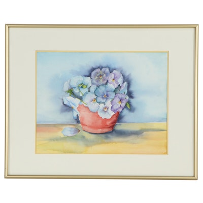 Still Life Watercolor Painting of Pansies, 2003