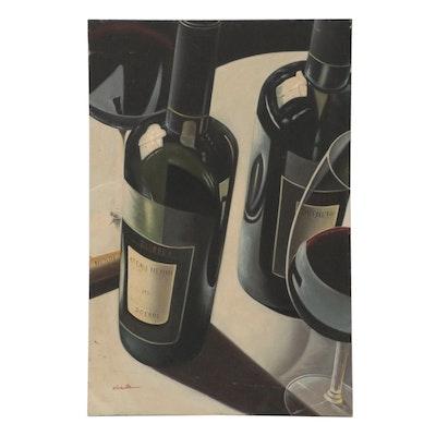 Hyper Realist Oil Painting of Wine Bottles, 21st Century