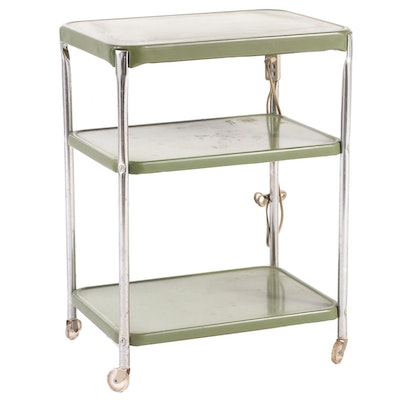 Cosco Chrome and Green Metal Three-Tier Utility Cart, Mid-20th Century