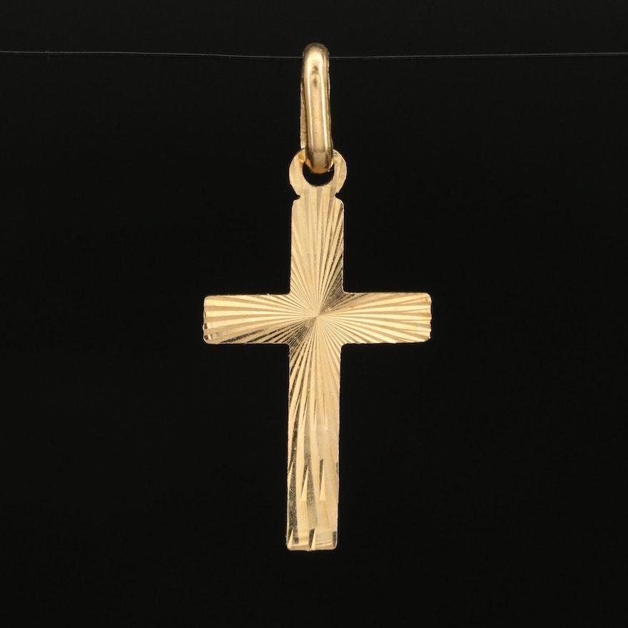 18K Italian Diamond Cut Cross Pendant
