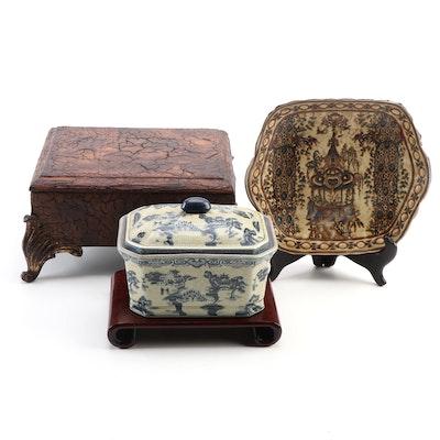 Kordenbrock Interiors Resin Casket with Ceramic Lidded Box and Decorative Dish