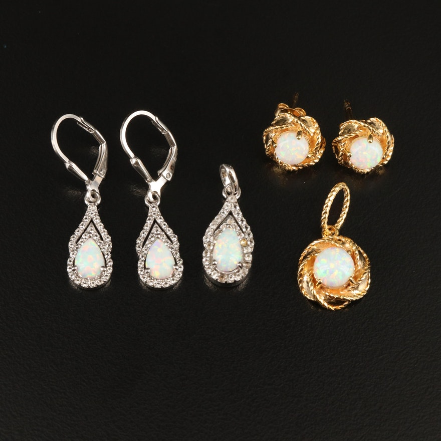 Sterling Silver Pendant and Earrings Sets with Opal and Topaz