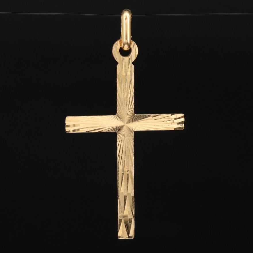 Italian 18K Etched Cross Pendant