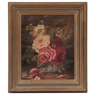 Still Life Oil Painting of Roses, Mid-Late 19th Century