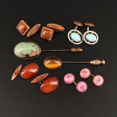 Antique and Vintage Cufflinks and Stick Pins with Tiger's Eye and Turquoise