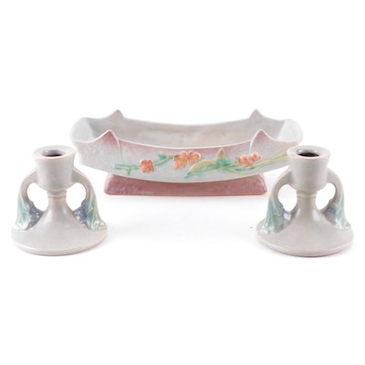 """Roseville Pottery """"Bittersweet"""" Console Bowl with """"Tuscany"""" Candleholders"""