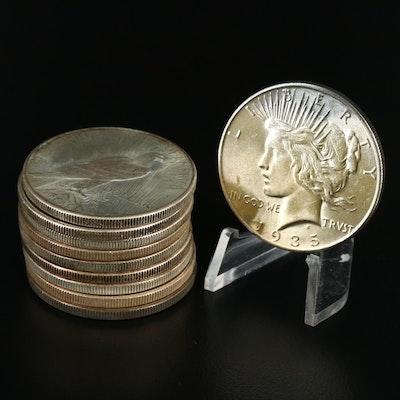 Ten 1935 Peace Silver Dollars