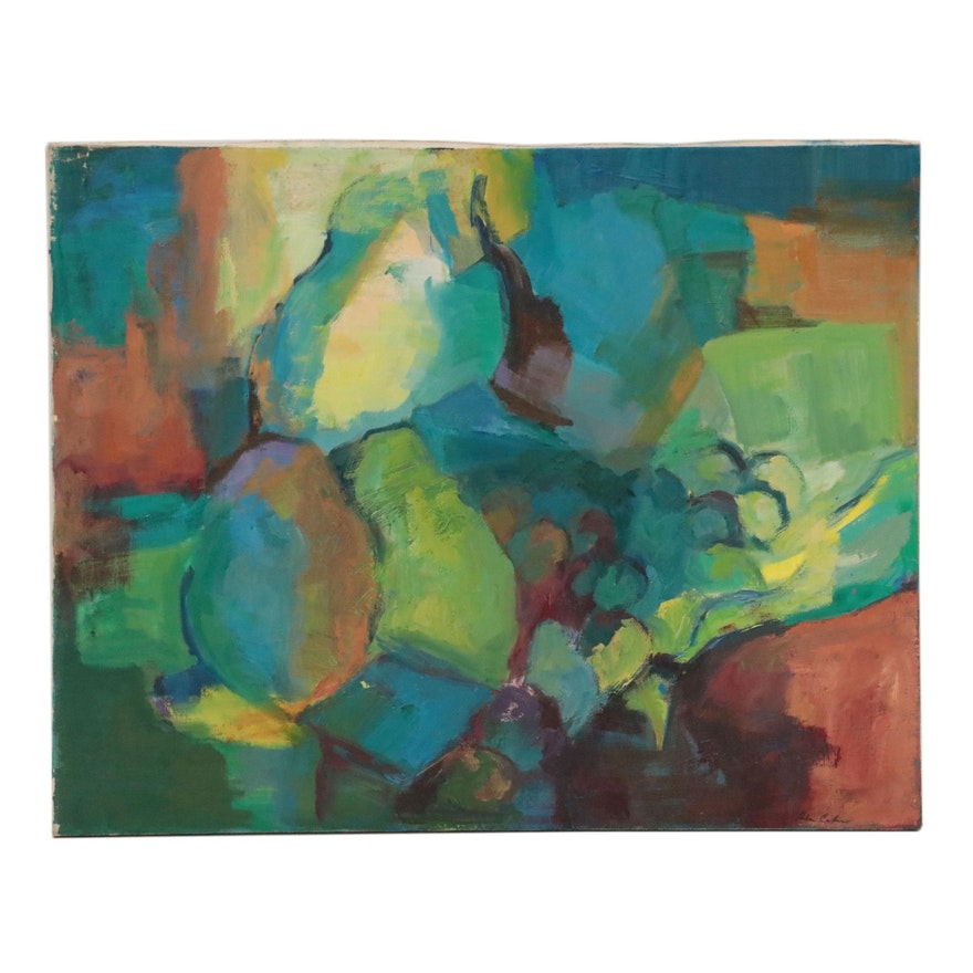 Abstract Still Life Oil Painting, Late 20th Century