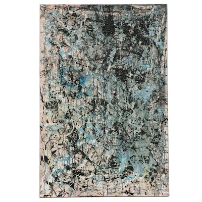 Abstract Expressionist Embellished Giclée, 21st Century