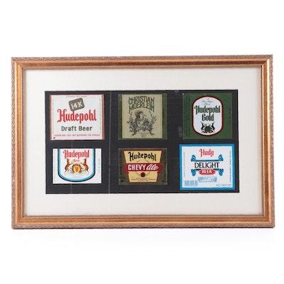 Hudepohl Brewing Company Beer Bottle Labels in Display Frame