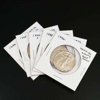 Five Uncirculated Walking Liberty Silver Half Dollars, 1942–1946