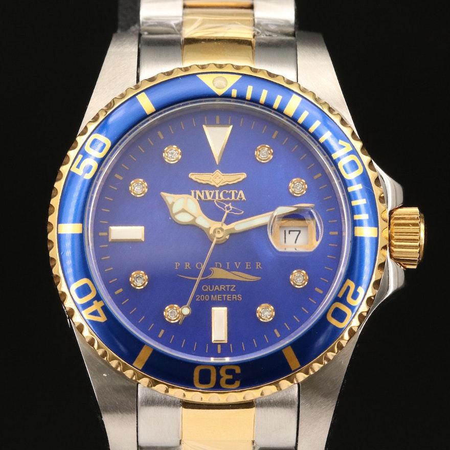 Invicta Pro Diver MOP and Diamond Dial Two-Tone Quartz Wristwatch