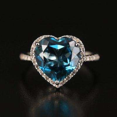 Sterling Topaz Heart Ring