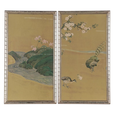 Chinese Style Offset Lithographs of Birds and Landscape