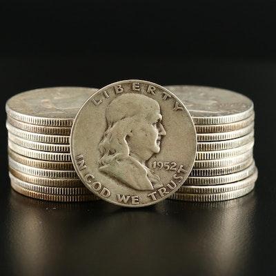 Twenty-One Franklin Silver Half Dollars