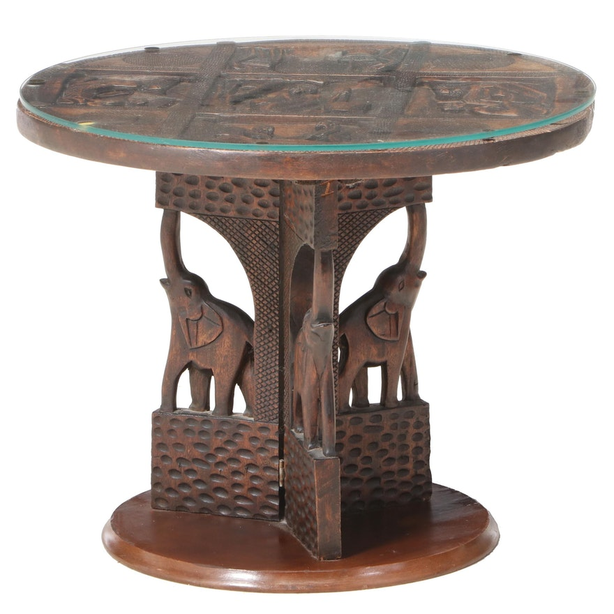 African Carved Wood Pedestal Side Table