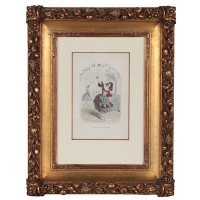 """Hand-Colored Engraving after J.J. Grandville """"Fleur de Grenadier"""""""
