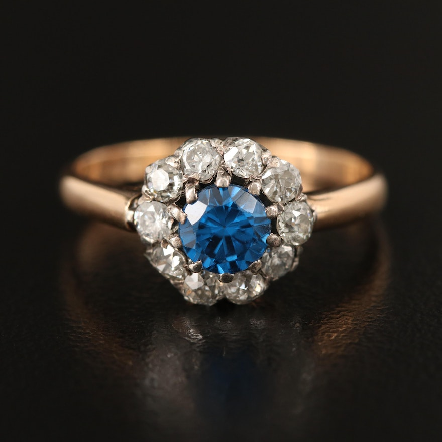 Edwardian Sterling Set Spinel and Diamond Ring with 18K Shank