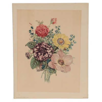 Offset Lithograph of Floral Bouquet, Late 20th Century
