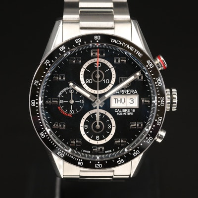 """TAG Heuer """"Carrera Calibre 16"""" Day-Date Chronograph Stainless Steel Wristwatch"""