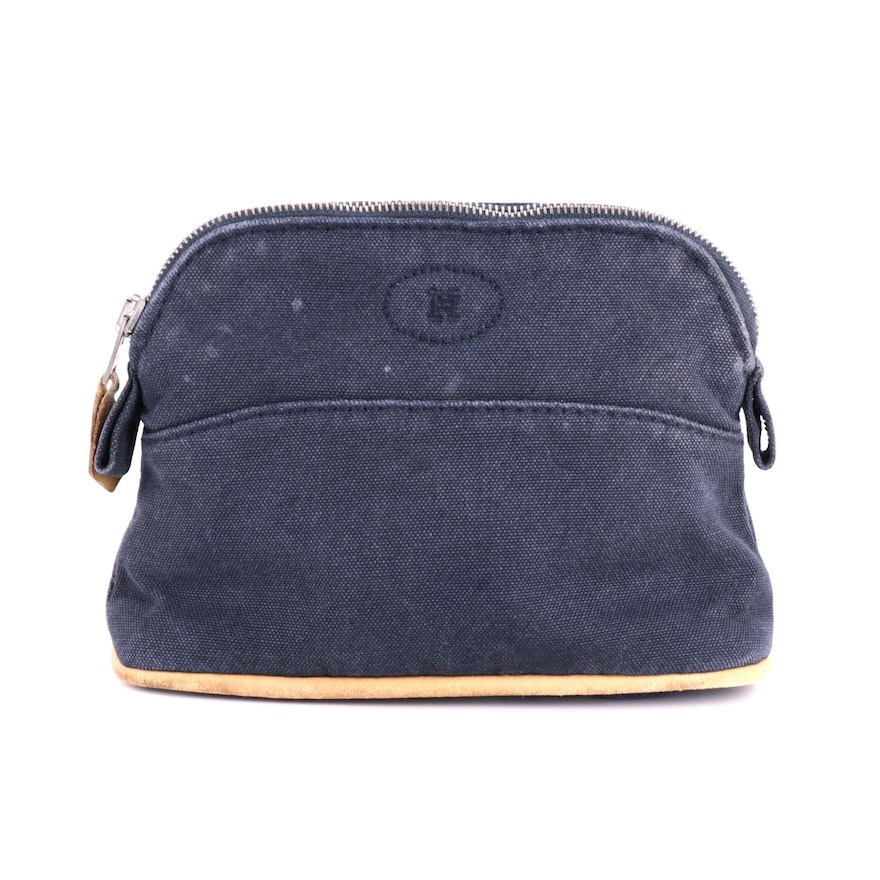 Hermès Small Bolide Travel Pouch in Navy Blue Canvas with Leather Trim