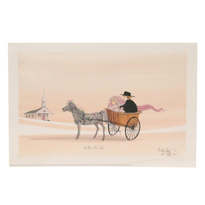 """Pat Buckley Moss Offset Lithograph """"The Ride to the Church,"""" 1993"""