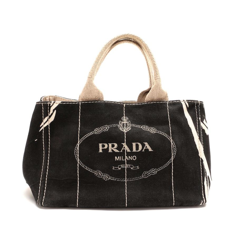 Prada Canapa Canvas Tote Bag in Black and Beige Canvas
