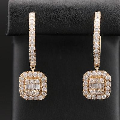 14K 3.35 CTW Diamond Drop Hoop Earrings