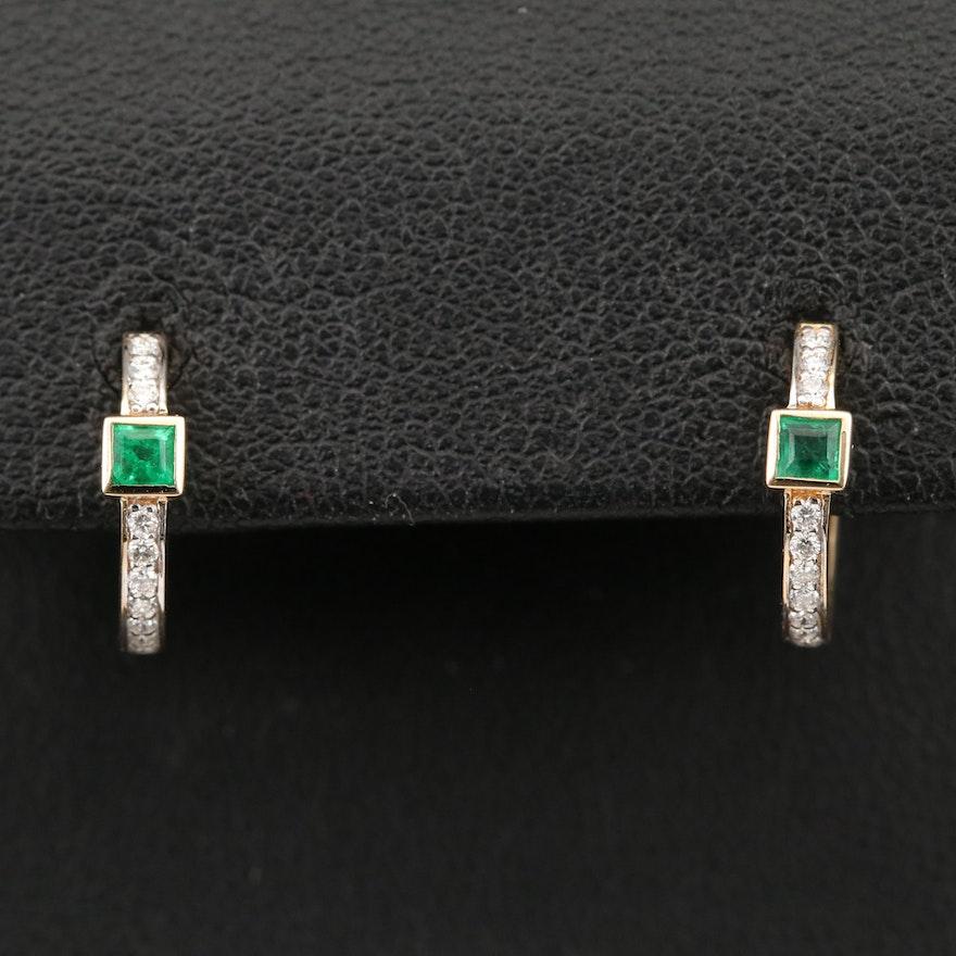 18K Emerald and Diamond Huggie Earrings