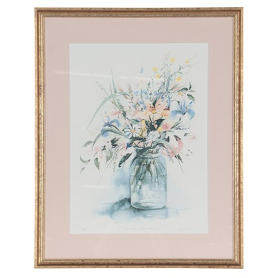 """Lyn Snow Offset Lithograph """"Ball Jar with Wildflowers,"""" Late 20th Century"""