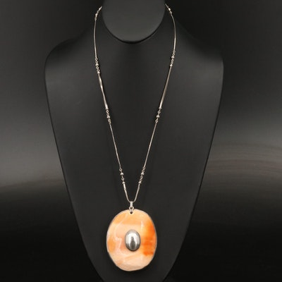 Sterling Silver Shell Pendant Necklace