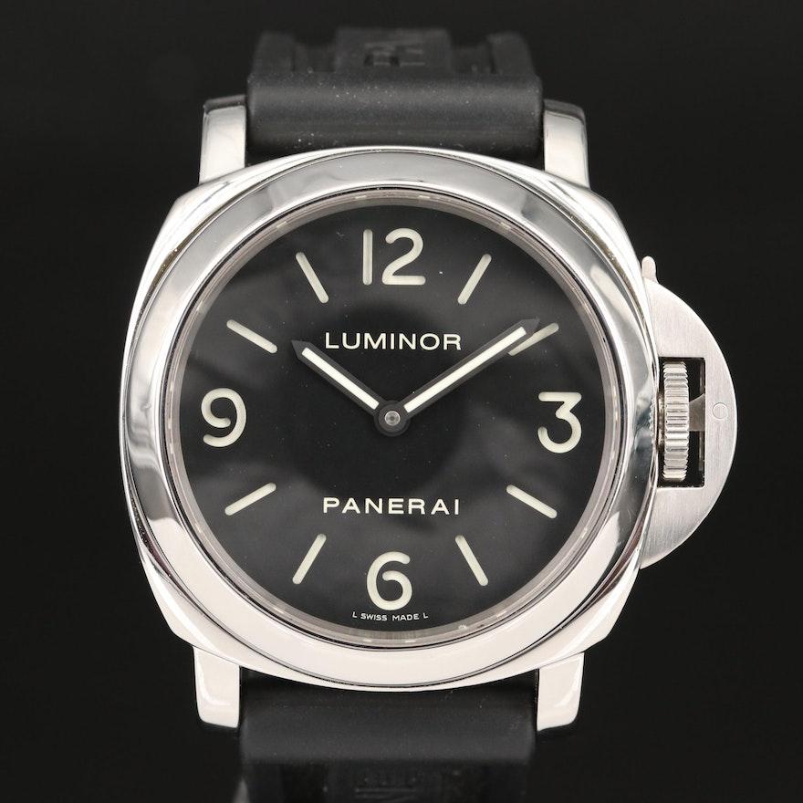 Panerai Luminor Base PAM112 Stainless Steel Stem Wind Wristwatch