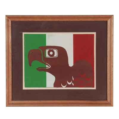 Serigraph of Bird on Mexican Flag, 1975